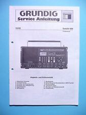 Service Manual-Istruzioni per Grundig Satellite 600, ORIGINALE