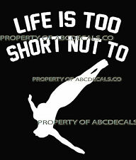 LIFE 2 SHORT DIVING Cliff Freestyle High Dive Female Car Decal Wall Sticker