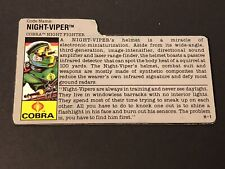 HASBRO VINTAGE GI JOE NIGHT-VIPER COBRA NIGHT FIGHTER BIO FILE CARD H-1
