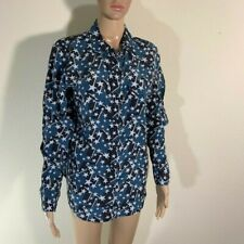 Womens Equipment Femme Silk Star Print Button Front Shirt M