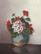 Antique Still Life With Flowers Oil Painting Signed