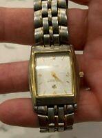 Vintage Armitron watch,  2 Toned, Square Case  Date Stainless Bracelet.