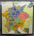 vintage rollable geographical wall chart poster, Germany reformation 1438 -1555