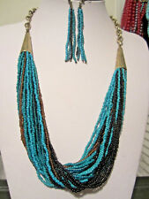 Multi Strand Turquoise And Black Glass Seed Bead Gold Tone Link Necklace Earring