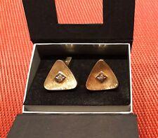 MANSCHETTENKNÖPFE Dreieck GOLD 585 GEBÜRSTET BRILLANTEN 0,20 CT