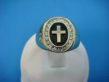 "14K YELLOW GOLD MEN'S CROSS RING WITH ""HALO"" DIAMONDS,SOLID BACK,9.2 GR,SIZE 11"