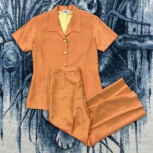 Vtg Lightweight Pajama Satin Style Full Set Button Shirt Pants 70s 80s Handmade