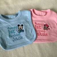 PERSONALISED BABY BIB MICKEY MINNIE MOUSE TODDLER 1ST BIRTHDAY CAKE + COLOURS!