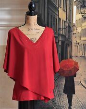 New! Adrianna Papell Women's Beaded Asymmetrical Cardinal Cap Blouse Top Size M