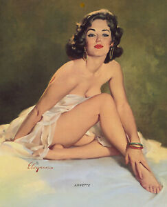 Vintage 1966 Art Deco Gil Elvgren Rare Brown & Bigelow Pin-Up Print Mod Annette