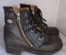 Harley Davidson Black Womens Leather Zip-up Ankle Riding Biker Boots Sz 7.5