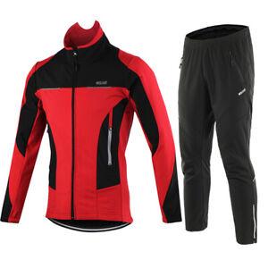 Men Winter Warm Windproof Cycling Jacket Set Sportswear Sweatpants