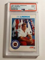 1991 SCORE ERIC LINDROS Rookie Card BILINGUAL #329 PSA 9 MINT POP 3 HOF
