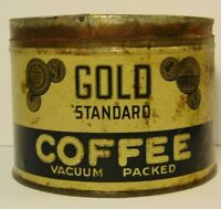 Vintage 1950s GOLD COFFEE GOLD COINS GRAPHIC COFFEE TIN ONE POUND COLUMBUS OHIO