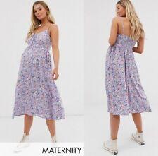 Womens NEW LOOK Maternity Dress Midi Floral Print Dress Summer Vintage Sundress