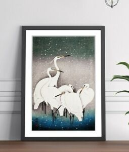 ORIENTAL FRAMED WALL ART PICTURE PRINT ARTWORK POSTER JAPANESE CRANES 4 SIZES
