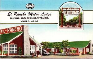 Linen Postcard El Rancho Motor Lodge in Rock Springs, Wyoming~138484