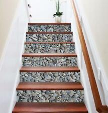 6pcs/Set 3D Cobblestone Removable Stairs Sticker DIY Art Vinyl Stair Riser Decal
