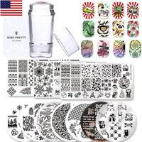 Nail Art Image Stamping Plates Manicure Stamp Templates Stamper Scraper DIY Kit
