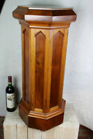 XL Antique french 19thc neo gothic wood carved standing pedestal saint church