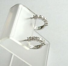 .925 Sterling Silver, Round Cubic Zirconia Open Hoop Earrings, New w/o Tag