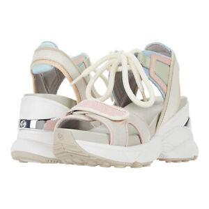 MICHAEL MICHAEL KORS Irma Sandals Sport Open Toe Wedge Heels Summer Shoes Cream