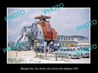 OLD LARGE HISTORIC PHOTO OF MARGATE CITY NEW JERSEY, LUCY THE ELEPHANT c1955