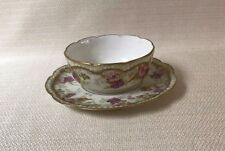 Limoges France A. K.  Ramekin with Saucers Pink Purple Floral and Gold Design