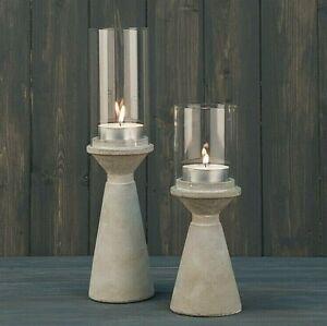 Scandi Chic Style Stone Tea Light Candle Holder Lantern with Glass Hurricane