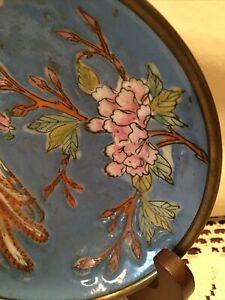 "Vintage Oriental Bowl Japanese Hand Painted 5.5 "" Blue Makers Mark Copper Back"