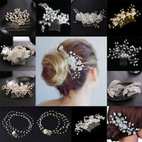 Wedding Bridal Women Rhinestone Crystal Pearl Flower Hair Clips Pin Comb Jewelry
