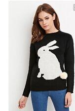 New Forever 21 Black & White Bunny Rabbit Animal Pullover Crewneck Sweater Sz S
