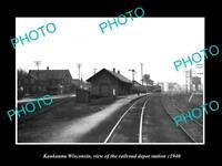 OLD LARGE HISTORIC PHOTO OF KAUKAUNA WISCONSIN THE RAILROAD DEPOT STATION c1940