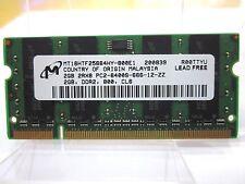 2GB MEMORIA RAM MICRON MT16HTF25664HY 800MHz SODIMM 200 Pin 2Rx8 PC2 6400S