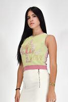 ICEBERG T-SHIRT Giromanica Elegante Verde-Rosa Taglia S Donna Woman Vintage
