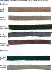 Schrägband/ Einfassband/ Textilband, Veluor/ Samt, Breite: 16 mm