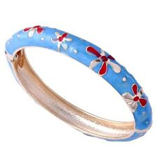 Wedding Jewelry red flower womens charm Gold Plated blue enamel bangle bracelet