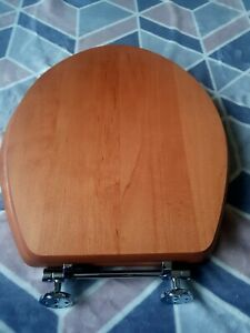 Solid Wood - CHERRY OAK toilet seat with chrome hinges FREE UK TRACKED POSTAGE!
