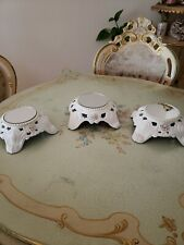 Shabby Chic (3) Pc. Vintage Round Mirrored Metal Plateau Display Stand Trays