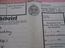 #8153 Germany German Reich Railways extremelly rare document 1934 Reichsbahn