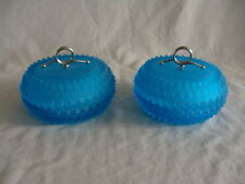 Vtg Indiana Glass Diamond Point Blue Satin Frosted 2 Trinket Box Candy Jar W/Lid