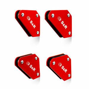 S&R 4-Teiliges Mini-Schweißmagnet-Set, Magnethalter,Montagewinkel 45°, 90°, 135°