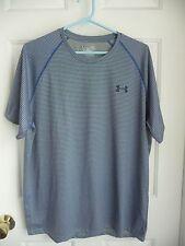 Under Armour L Men's Shirt Loose Fit Blue Striped Short Sleeves Performance Casu