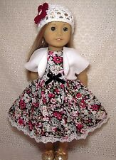Doll Clothes Summer Flowers Black Dress Shrug Hat 3Pc fits American Girl *33