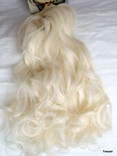 """24"""" inch Clip in Hair Extensions Curly Wavy White Blonde 60M Womens One Piece"""