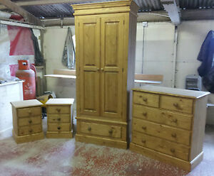 Waxed Bedroom Furniture Set with Two Door Wardrobe, Chest & 2 x Bedsides