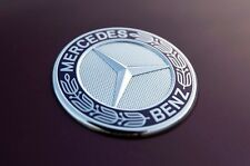 NEW Mercedes-Benz OEM Flat Laurel Wreath Hood Badge Emblem with Adhesive Backing