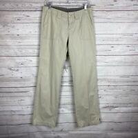 Prana Womens Casual Straight Leg Pants Size 4 Khaki Back Flap Pockets Cotton