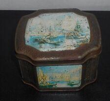 "HORNER TEA circa 1900 Venice Italy Gondola Scenes Tin Box 2-3/4"" T 4-3/4"" W 4"" D"