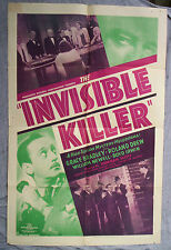 INVISIBLE KILLER movie poster GRACE BRADLEY original one sheet